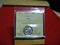 1953  CANADA   DIME  10 CENTS  PIECE   COIN   I.C.C.S.   GRADED MS 63  NSF
