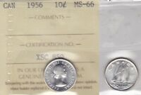 1956 ICCS MS66 10 CENTS CANADA TEN DIME SILVER