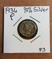 90  SILVER US MERCURY DIME DATED 1936 P 3