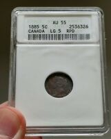 Click now to see the BUY IT NOW Price! 1885 CANADA 5 CENTS ANACS AU 55 5/5 / 5/3    VARIETY   BOOK VALUE $2350