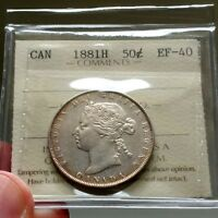 1881 H CANADA 50 CENTS   ICCS EF 40   BOOK VALUE $900   BEAUTIFUL COIN XF 40