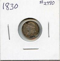 1830 H10C CAPPED BUST SILVER HALF DIME. CIRCULATED. LOT 2176