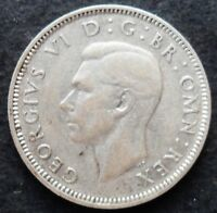1942 GREAT BRITAIN SHILLING  NICE SILVER COIN  AU      UNC.    264