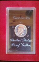 LOT OF 3. 1971 EISENHOWER PROOF SILVER DOLLARS. BROWN BOX