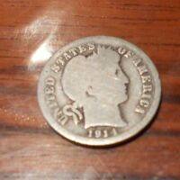 1914 BARBER DIME U.S. COIN CENTS SILVER