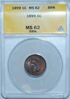 1899 ANACS MINT STATE 62BN S-8 SNOW-8 REPUNCHED DATE RPD INDIAN CENT