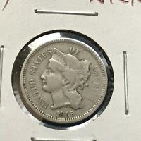 1865 3CN THREE CENT NICKEL 34216