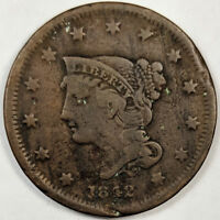 1842 BRAIDED HAIR LIBERTY HEAD LARGE CENT SMALL DATE -  US COPPER COIN
