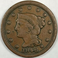 1846 BRAIDED HAIR LIBERTY HEAD LARGE CENT -  US COPPER COIN