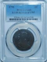 1796 PCGS AG3 S-100 R.5 REVERSE OF 1797 DRAPED BUST CENT ONLY 4 FINER