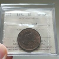 1871 PEI 1 CENT ICCS MS 60 TRACE RED   PRINCE EDWARD ISLAND   BOOK VALUE $300