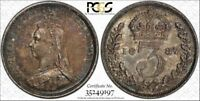 1887 3D S 3931 JUB HEAD GREAT BRITAIN CERTIFIED PCGS AU58 SILVER COIN