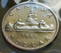 1959 CANADA SILVER ONE DOLLAR COIN $1.00   VINTAGE CANADIAN