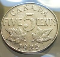 1925 CANADA 5 CENTS NICKEL COIN    KEY DATE   COINS OF CANAD