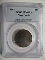 1861 PCGS MS64 1 CENT RB LARGE BUD NOVA SCOTIA NS PENNY SOLE HIGHEST GRADE ON EB