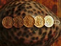 VINTAGE BROOCH OF 5 LIBERTY GOLD FRACTIONAL PIONEER COIN