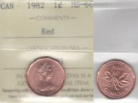 1982 ICCS MS66 1 CENT RED CANADA ONE PENNY