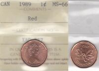 1989 ICCS MS66 1 CENT RED CANADA ONE PENNY