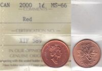 2000 ICCS MS66 1 CENT RED CANADA ONE PENNY