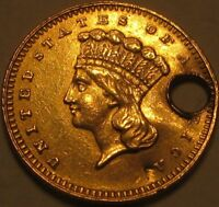 1862 AU   XF   DETAILS GOLD DOLLAR  TYPE 3 LIBERTY HEAD  IN A SAFLIP