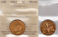1943 ICCS MS63 5 CENTS TOMBAC CANADA FIVE NICKEL