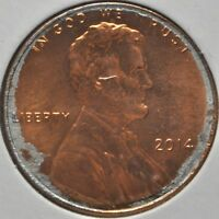 2014 P STRUCK ON DAMAGED PLANCHET LINCOLN CENT