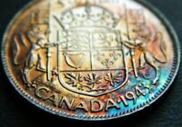1943 SILVER FIFTY CENT 50C CANADA CANADIAN HALF COLOR STUNNING  TONED  BEAUTIFUL