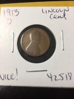 1913 D LINCOLN CENT NICE  42518