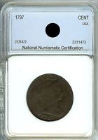 1797 DRAPED BUST LARGE ONE CENT PENNY COIN
