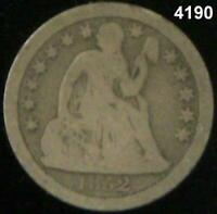 1852 10 CENT SEATED LIBERTY DIME VG 4190