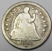 1848-O LIBERTY SEATED SILVER HALF DIME 5C US COIN ITEM 18259