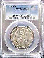 1943-D GEM BRILLIANT UNCIRCULATED 50 WALKING LIBERTY HALF DOLLAR PCGS MINT STATE 65