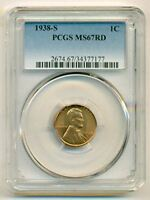 1938 S LINCOLN WHEAT CENT MINT STATE 67 RED PCGS