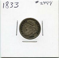 1833 10C CAPPED BUST SILVER DIME. CIRCULATED. LOT 2101