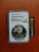 1993 P PROOF SILVER EAGLE NGC PF69 ULTRA CAMEO SEMI KEY EDGEVIEW ..SEE MY OTHERS