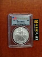 2007 W BURNISHED SILVER EAGLE PCGS MS70 FLAG FIRST STRIKE LABEL