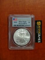 2010 $1 AMERICAN SILVER EAGLE PCGS MS70 FLAG 25TH YEAR OF ISSUE LABEL