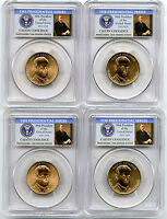 2014 P&D CALVIN COOLIDGE PRESIDENTIAL DOLLAR 4 COIN SET PCGS MINT STATE 66 POSITION A&B