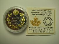 2015 PROOF 5 CENTS LEGACY NICKEL 1 CROSSED MAPLE BOUGHS GEORGE V COIN&COA ONLY