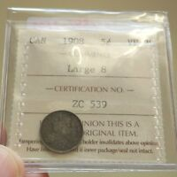 1908 CANADA SILVER 5 CENTS   ICCS LARGE 8 VF 30 BOOK VALUE $225    KEY DATE