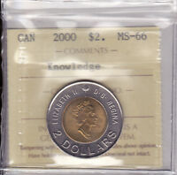 2000 ICCS MS66 $2  PATH OF  KNOWLEDGE  FAMILY POLAR BEARS  CANADA TOONIE TWO DOL
