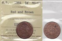1864 ICCS MS63 0.5 1/2 HALF CENT RED AND BROWN NOVA SCOTIA NS PENNY HALF PRICE
