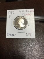 1986 S WASHINGTON QUARTER PROOF 619