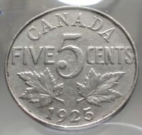 1925 CANADA 5 CENTS NICKEL    KEY DATE CANADIAN COIN COINSOF