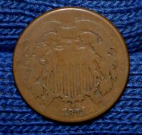 1871 TWO CENT PIECE VG CHOICE BROWN COLOR
