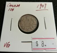 CANADA 1907 10 CENT STERLING SILVER EDWARD VII NICE DIME COIN  D14