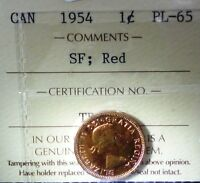 CANADA CENT 1954  ICCS RED   HIGH GRADE SF  SHOULDER FOLD