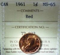 CANADA CENT 1961  ICCS RED   HIGH GRADE