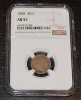 1888 3CN THREE CENT NICKEL GRADED BY NGC AS AU 55