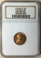 1949 S 1C LINCOLN WHEAT CENT NGC MS 67 RD
